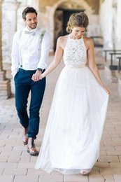 $enCountryForm.capitalKeyWord Australia - Simple Jewel Sleeveless Chiffon Lace Top Wedding Dress Lace Tulle Beach Wedding Dress with belt