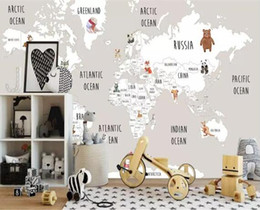 Painting world maP online shopping - Custom Mural Kids Room Wall d Photo Wallpaper Hand Painted animal World Map Picture Background d wallpaper