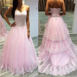 $enCountryForm.capitalKeyWord Australia - New On Sale Lovely Girls Prom Dresses Pink Long Lace Bodice Sweetheart Corset Back Tiered Skirt Evening Party Gowns