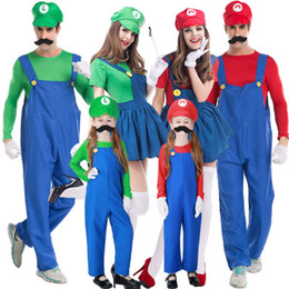 Men s suit accessories online shopping - Family Halloween Super Mario Costumes Suits Plumber Cosplay Costume Accessories Halloween Men Women Chidren Popular Game Cosplay Clothing