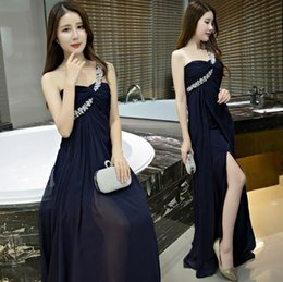 Shin Length White Dress Australia - New One Shoulder African Dark Navy Evening Dresses Floor Length Side Slit Cheap 2019 Modest Chiffon Bridesmaid Gowns With Shinning Crystals