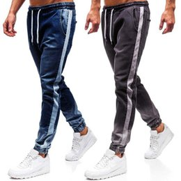 trousers for men sizes Australia - Elastic Waist Jeans For Men's ankle-tied Pants Denim Cotton Straight Pocket Stripe Trousers Casual Summer Plus Size Men Clothes