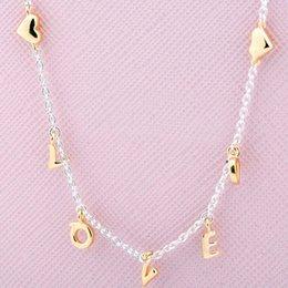 Neue 925 Sterling Silber Halskette Glanz Geliebt Skript Collier Halskette Für Frauen Hochzeitsgeschenk Europa DIY Schmuck im Angebot