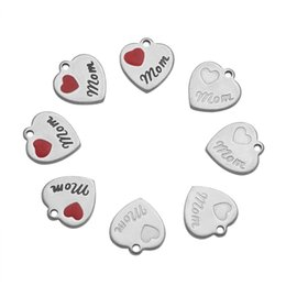 Word Charms Australia - 10pcs set 13x12x1mm 304 Stainless Steel Heart with Word Mom Charms Necklace Pendants for DIY Jewelry Findings Mother's Day Gift