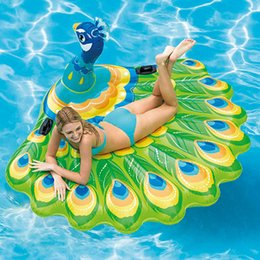 Discount children ride toys - 193cm Giant Inflatable Peacock Pool Float Ride-On Swimming Ring for Adult Children Air Mattress Beach Chair Lounger Wate