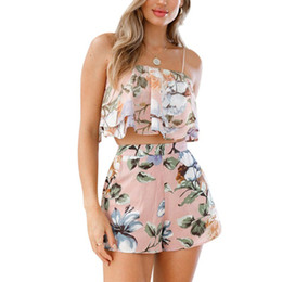 $enCountryForm.capitalKeyWord UK - Ladies Spring Summer Casual Suit Sexy Sling Wrapped Chest Top With Printed Casual Shorts E1