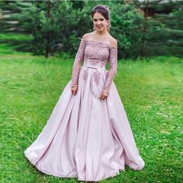 $enCountryForm.capitalKeyWord UK - Off The Shoulder Long Prom Dress With Long Sleeves Appliques Beading Pink Satin Cheap Vestido De Fiesta De Graduacion Prom Gowns