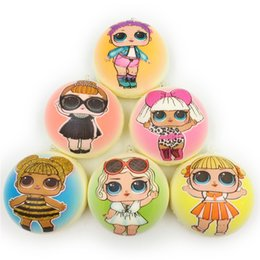 Wholesale Pendant Sets NZ - Surprise Girl Squishy Slow Rising Cute Cartoon Squishies Toy Pendant PU Simulated Bread Relief Gift Decompression Toys 6PCS Set A43002