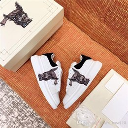 cow lining leather UK - Lovers thick sole small white shoes 3D patterned Silk cow leather upper with sheepskin lining sportswear shoes,Complete set of shoe box