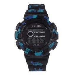 Опт HONHX Мужские электронные часы Детские водонепроницаемые спортивные часы 71 Eye Camo Watch
