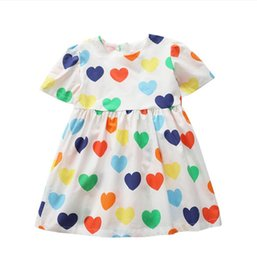 e6da632e2b3a7 New 2019 Summer Baby Girls Cotton Love Pattern Dress, Baby Kids Cute Dresses  5 pieces lot, Wholesale Free Shipping