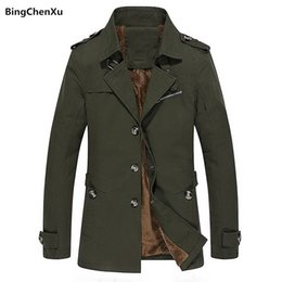 mens padding jacket long NZ - Thick Mens Winter Jacket High Quality Solid Padded Warm Casual Jacket New Fashion Cotton Army Outdoors Clothes Dropshipping 1029MX190828