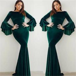 $enCountryForm.capitalKeyWord Australia - 2019 Dark Green Mermaid Evening Dresses Long Bell Sleeves Velvet Floor Length Formal Dress Evening Wear vestidos festa Prom Gowns