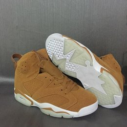 Cheap Authentic Basketball Sneakers Australia - cheap 6 Golden Harvest Men Basketball Shoes Wheat Suede 384664-705 6s VI Authentic Ourdoor Sneakers Size 40-47