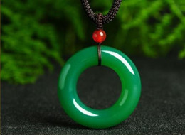 Jade Carved Flower Pendant Australia - Natural Green Chalcedony Hand-carved Pendant Necklace Sweater Chain Jewelry Gift Wholesale A Symbol Of Peace And Happiness