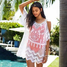 $enCountryForm.capitalKeyWord Australia - CUPSHE White Lace Cold Shoulder Bikini Cover Up Sexy See-through Tunic Beach Dress Women 2019 Summer Bathing Suit Beachwear