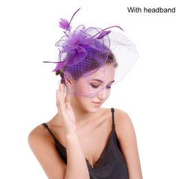 Wedding hair nets online shopping - Europe America Style Net Yarn Fascinators Hat Bridal Hair Accessories Headband For Wedding Dancing Party Hats