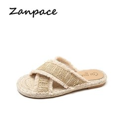 flip flop bling NZ - Flat-bottomed Slippers Women Summer 2019 Korean Version of The Woven Tassel Sandals Outside Shoes Woman Bling Flip Flops
