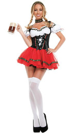 Wholesale sexy beer uniforms for sale - Group buy Adult Women German Bavaria Oktoberfest Costume Sexy Beer Girl Dirndl Bar Wench Maid Outfit Fantasia Party Uniform