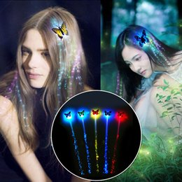 Fiber Optics Party Supplies Australia - LED Hair Extension Light Emitting Hair Glow By Fiber Optic Braid Plait Luminous Wig Party Prom Supplies Flashing Butterfly Hair Accessories