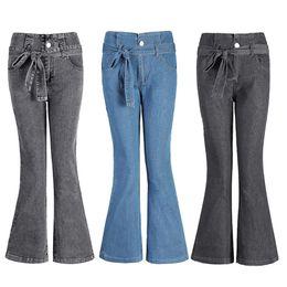 3406f680bb8 Женщины расклешенные джинсы высокая прочность широкие ноги Flare джинсы  новый стиль Bellbottoms джинсы плюс размер S-4XL с поясом модные брюки  осень-весна
