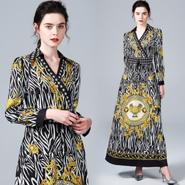 luxury print maxi dress Canada - New2019 Totem Print Casual Vintage Maxi Dress Women Ladies Luxury V-Neck Long Sleeve Sashes A-Line Party Robe Dresses Vestidos Wholesale