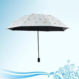 Wholesale Three-folding UV Protection Umbrella Folding Vinyl Printed Feather Umbrella With Portable Cover 8 Bone Rainproof Umbrellas BH0991 TQQ
