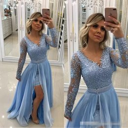Short prom dreSSeS ruffle detachable Skirt online shopping - Vintage V Neck Pearls Lace Appliques Baby Blue Evening Dresses Long Sleeves With Detachable Skirt And Pearl Sash formal Prom Gowns