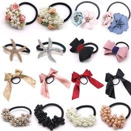 Pearl Bead Elastic Australia - Pearls Beads Headbands Ponytail Holder Girls Scrunchies Vintage Elastic Hair Bands Rubber Rope Headdress Women Hair Accessories