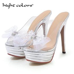 transparent platform slippers Canada - Summer Women Platform High Heels Slippers High Quality Transparent Bow Decoration Female Fashion Heel Casual Ladies Shoes