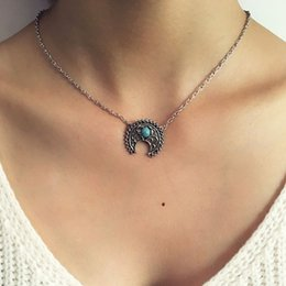 vintage crescent moon pendant NZ - Ethnic Gypsy Turquoise Crescent Moon Pendant Necklaces Women Bohemia Silver Chain Flower Totem Clavicle Necklace Vintage Jewelry YN17