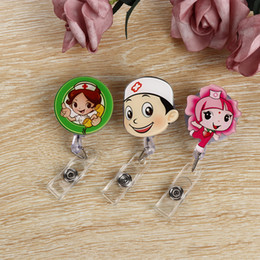 Wholesale Cartoon Mini Retractable Badge Reel Nurse Lanyards Id Name Card Badge Holder Clip Student Nurse Badge Holder Office Supplies