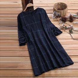 Women plus sizes kimonos online shopping - Womens Dress Plus size Dress O Neck Casual Women Loose Plaid Long Sleeve Vintage Dress Large Sizes Elegant Party Dresses Vestido
