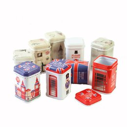 tin gift boxes packaging UK - Tea caddy gift packaging box candy storage box for party wedding favor tin box cable organizer container