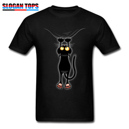 $enCountryForm.capitalKeyWord Australia - O-Neck Men's T Shirt Fun Tshirt Black Cat Falling Down Tops Cotton Fabric Street Short Sleeve T-Shirt Novelty Design Clothing