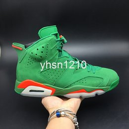boot like shoes UK - Gatorade Like Mike AJ5986-335 Green Suede 6s VI Women Men Basketball Sports Shoes Sneakers Best Quality Trainers