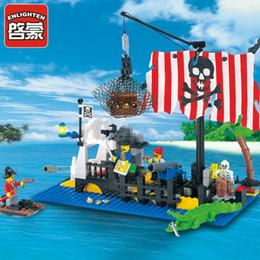 Pirate Block Set Australia - Building Construction Toys Blocks Enlighten Pirate Series Sunken Boat Building Block Set for Children DIY toys