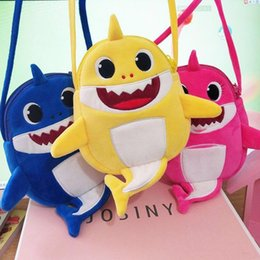 Wholesale Canvas Back Packs Australia - Cartoon Plush Shark Backpack School Bag Girl Boy Kids Children School Bags Shark Backpacks Baby Shoulders Back Packs Sharks bookbag