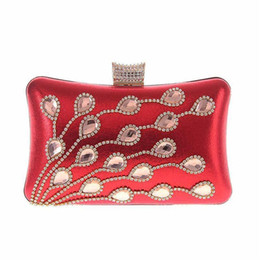 Peacock Bags Australia - Luxury Diamonds Peacock Women Clutch Bags Rhinestones Evening Bags For Wedding Bridal Party Wallet With Chains