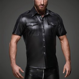 $enCountryForm.capitalKeyWord NZ - Men Faux leather Shirts PU Leather T Shirts Men Sexy Fitness Tops Gay Latex T-shirt Tees Mens stage Tops Tee Sexy Party