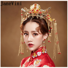 Red Gold Hair Australia - JaneVini Oriental Chinese Wedding Bridal Hairband Vintage Red Hair Accessories Jewelry Gold Long Tassel Pageant Crowns Tiaras C19010501