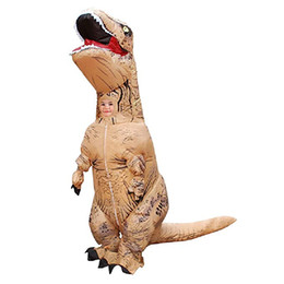 kids mascot suits NZ - T-Rex Dinosaur Inflatable Costume Halloween Blow up Suit Brown Mascot Costume for Kids