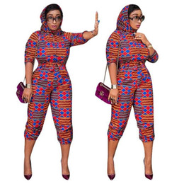 nigerian clothes NZ - 2020 Fashion Printed African Traditional Clothes Dashiki Dress for Women Girls Hooded Slim Waist Bandage Nigerian Scarf Jumpsuit