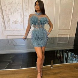 Discount celebrities mini prom dresses Feather Sheath Cocktail Party Dresses 2020 High Neck Long Sleeve Mini Crystal Beads Formal Prom Evening Gowns Celebrity Wear Plus Size
