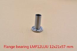 12mm Bearing Australia - LMF12LUU 12mmx21mmx57mm round flange long linear ball bearing for 12mm rod round shaft cnc bearing 1pcs