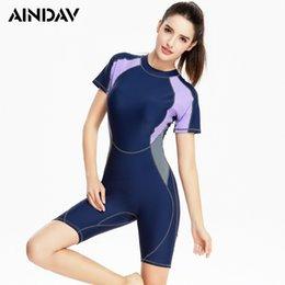Blue Plus Size Jumpsuit Australia - Sport Short Sleeve One Piece Swimsuit Jumpsuit Swimwear Women Patchwork Bathing Suit Sport Bodysuit Beach Wear Plus Size