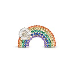rainbow brooches UK - Bling Bling Rhinestone Rainbow Brooch 4.4*2.3cm Women Rainbow Luxury Brooch Suit Lapel Pin High Quality Jewelry