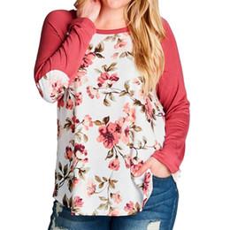 03c7cd0c86f 2019 Womens Fashion Flower Print Plus Size O-Neck Baseball T-Shirt coat  female T-shirt for women s shirt women s tops