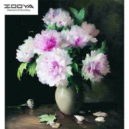 Discount flower vase paintings canvas - ZOOYA DIY 5D Full Round Diamond Painting Embroidery Diamond Mosaic flower white vase Cross Stitch Home Decor