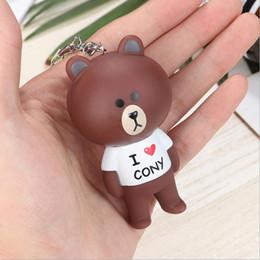 $enCountryForm.capitalKeyWord Australia - Creative little bear key chain cartoon doll rabbit key chain leather string bag lovers pendant key chain